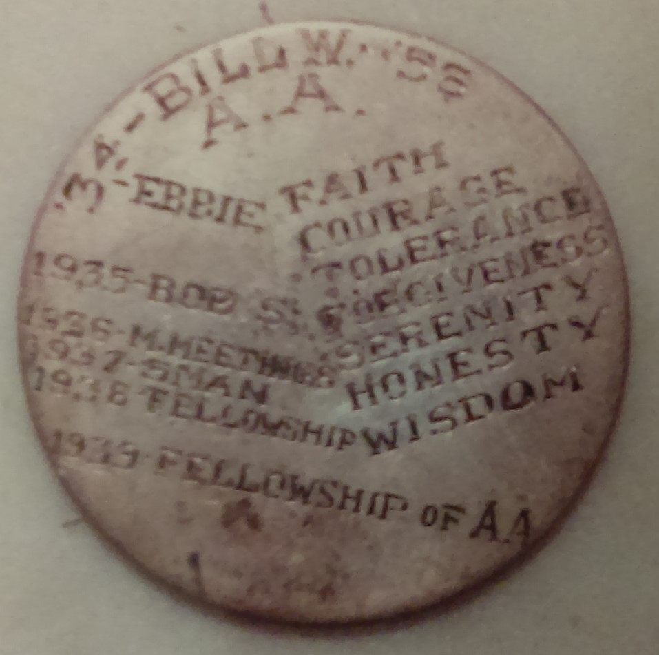 Medallion given to Bill W by Ebby T.